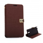 D Protect MSC04 Protective PU Leather Case w/ Dual Card Slots + Stand for Samsung Note 3 - Brown
