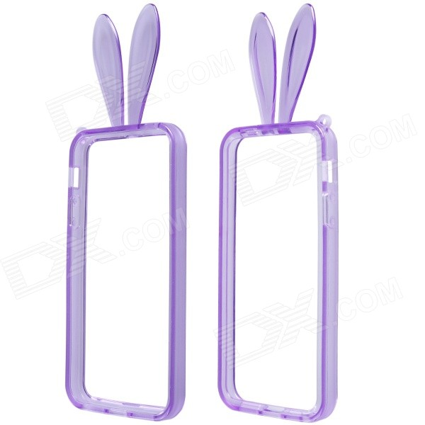 AL01 Lovely Rabbit Ear Style Protective TPU Bumper Frame w/ Strap for IPHONE 5 / 5S - Purple