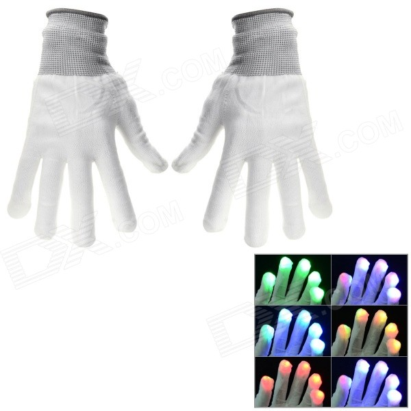 Halloween Party Cotton 6-Mode LED Gloves - White (Pair / 2 x CR1220) decorative led green light straight hair wig hairpin for party white 2 x cr1220