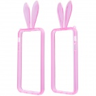 AL01 Lovely Rabbit Ear Style Protective TPU Bumper Frame w/ Strap for IPHONE 5 / 5S - Pink