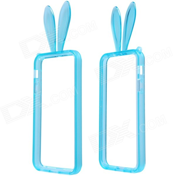 AL01 Lovely Rabbit Ear Style Protective TPU Bumper Frame w/ Strap for IPHONE 5 / 5S - Blue