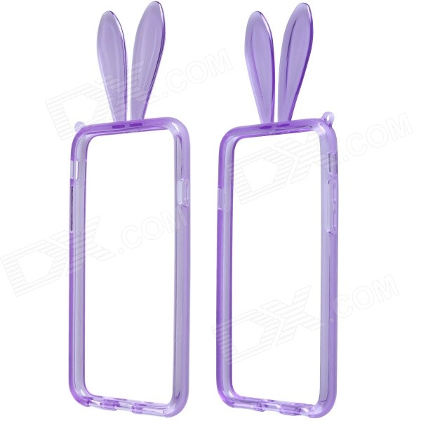 AL01 Lovely Rabbit Ear Style Protective TPU Bumper Frame w/ Strap for IPHONE 6 4.7 - Purple