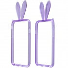 "AL01 Lovely Rabbit Ear Style Protective TPU Bumper Frame w/ Strap for IPHONE 6 4.7"" - Purple"