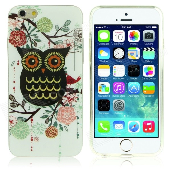 DF-026 Owl + Flower Pattern Protective TPU Case for IPHONE 6 4.7 - Multicolored df 026 owl pattern protective tpu back case for iphone 6 multicolored