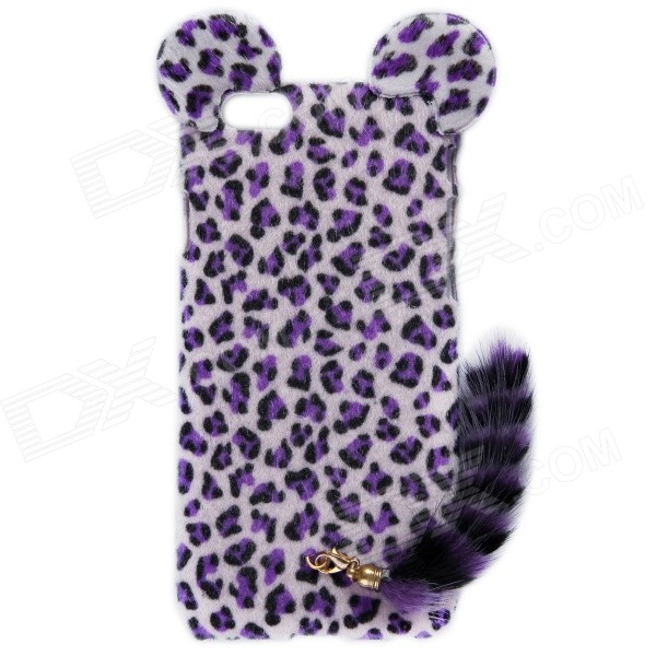 HW01 Leopard Pattern Protective Plastic Back Case w/ Tail for IPHONE 6 4.7 - Purple leopard print pattern protective plastic case w tail for samsung galaxy s4 i9500 black yellow