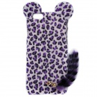 "HW01 Leopard Pattern Protective Plastic Back Case w/ Tail for IPHONE 6 4.7"" - Purple"