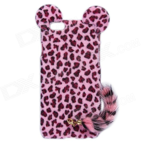 HW01 Leopard Pattern Protective Plastic Back Case w/ Tail for IPHONE 6 4.7 - Pink leopard print pattern protective plastic back case w tail for samsung galaxy s4 i9500 deep pink