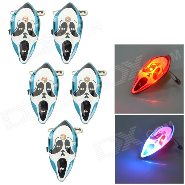 Halloween Decorative Screaming Ghost Style LED Brooches Set - White + Red (5 PCS / 3 x LR41)