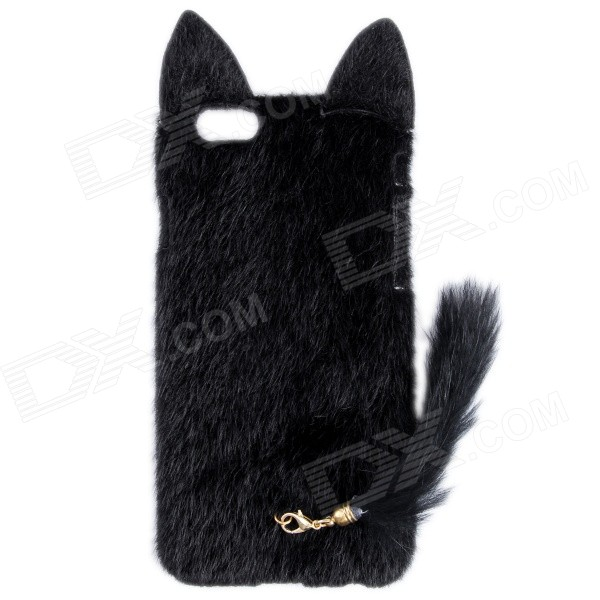 HW01 Fashion Mink Style Protective Plastic + Plush Back Case w/ Tail for IPHONE 6 4.7 - Black nillkin protective matte plastic back case w screen protector for iphone 6 4 7 golden