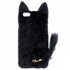 "HW01 Fashion Mink Style Protective Plastic + Plush Back Case w/ Tail for IPHONE 6 4.7"" - Black"