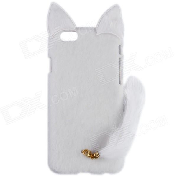 HW01 Fashion Mink Style Protective Plastic + Plush Back Case w/ Tail for IPHONE 6 4.7 - White nillkin protective matte plastic back case w screen protector for iphone 6 4 7 golden
