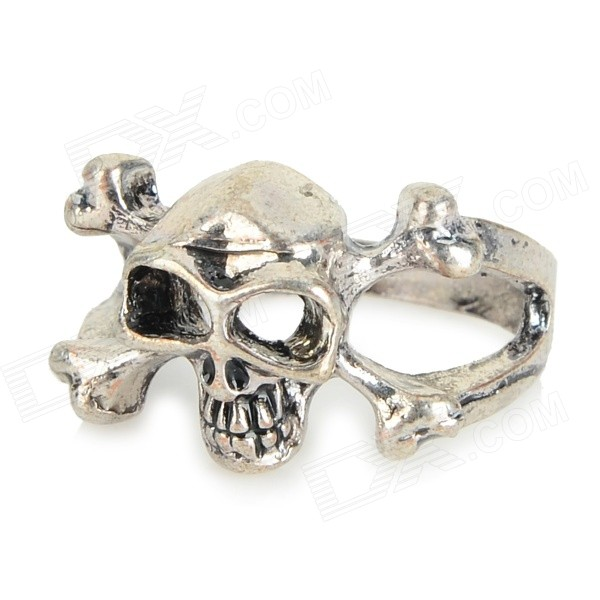 FenLu FL-035 Retro Skull Shaped Aluminum Alloy Ring - Antique Silver (US Size: 5.5)