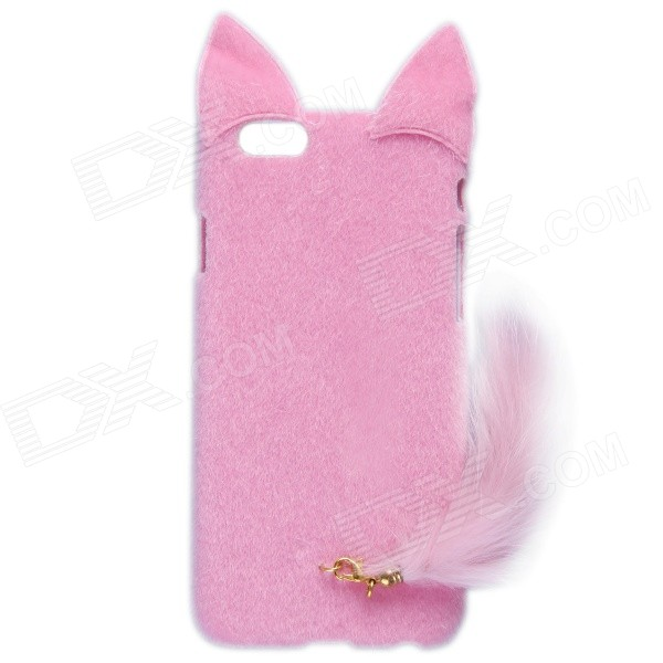 HW01 Fashion Mink Style Protective Plastic + Plush Back Case w/ Tail for IPHONE 6 4.7 - Pink nillkin protective matte plastic back case w screen protector for iphone 6 4 7 golden