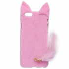 "HW01 Fashion Mink Style Protective Plastic + Plush Back Case w/ Tail for IPHONE 6 4.7"" - Pink"