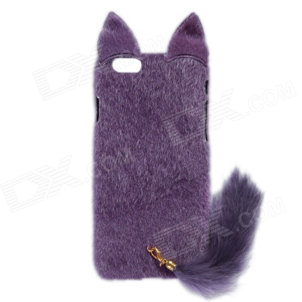HW01 Fashion Mink Style Protective Plastic + Plush Back Case w/ Tail for IPHONE 6 4.7 - Purple nillkin protective matte plastic back case w screen protector for iphone 6 4 7 golden