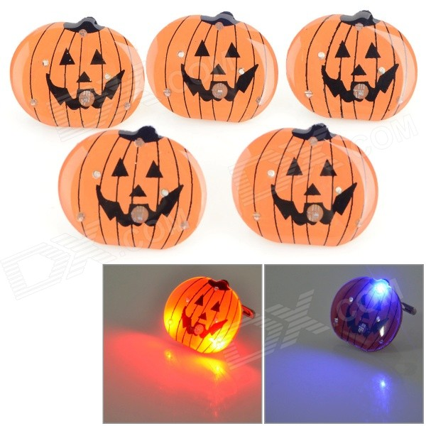 Halloween Decorative Pumpkin Shaped LED Brooches Set - Brown (5 PCS / 3 x LR41)