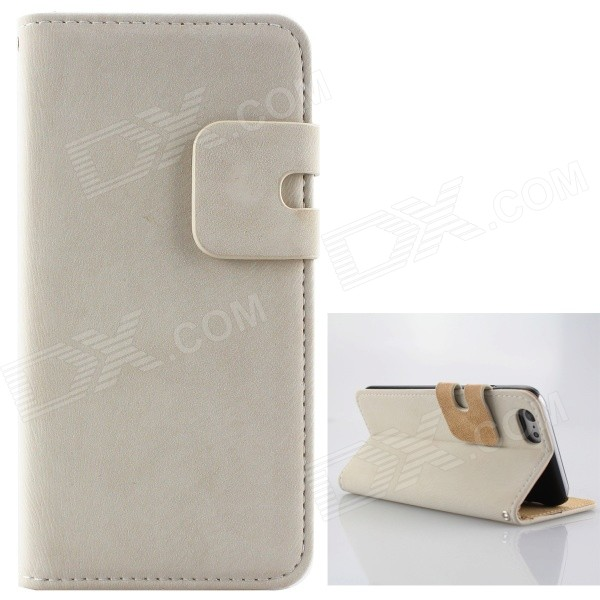 High Quality Flip-Open PU + PC Case w/ Card Slots for IPHONE 6 PLUS 5.5 - White high quality business flip open pu pc case w card slots for 5 5 iphone 6 plus brown