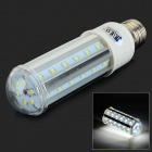 JRLED E27 10W 800lm 6500K 42-SMD 2835 LED White Light Corn Lamp - White + Silver (AC 85~265V)