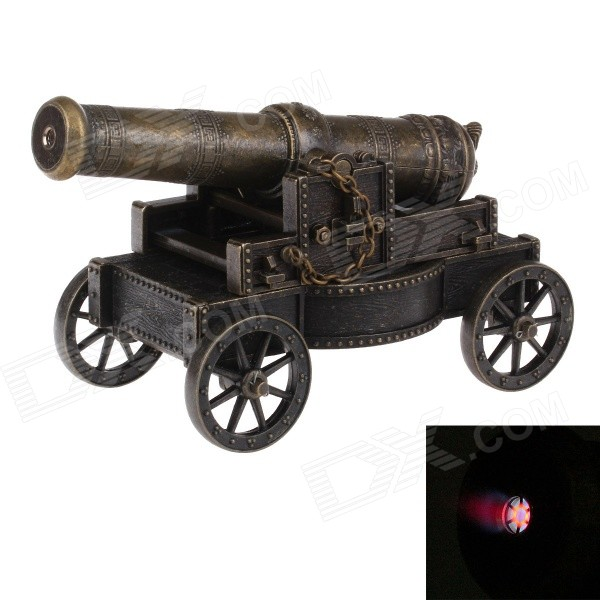 Vintage Cannon Model Style Windproof Butane Jet Lighter - Bronze chili pepper style zinc alloy butane gas lighter green