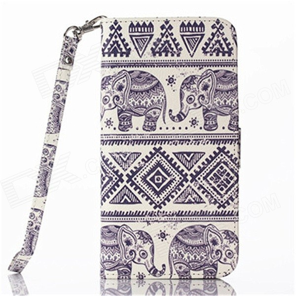 Elephant Pattern Flip PU Leather Wallet Case w/ Stand, Photo Frame for IPHONE 6 4.7 - White + Blue смартфон asus zenfone go zb500kl белый 5 16 гб lte wi fi gps 3g 90ax00a2 m00730