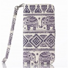 "Elephant Pattern Flip PU Leather Wallet Case w/ Stand, Photo Frame for IPHONE 6 4.7"" - White + Blue"