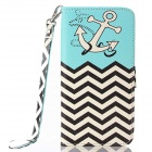 "Nautical Style Flip PU Leather Wallet Case w/ Stand, Photo Frame for IPHONE  6 4.7"" - White + Blue"