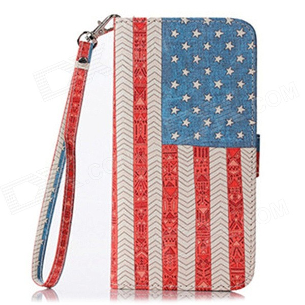 Cloth Grain USA Flag Flip PU Leather Wallet Case w/ Stand / Photo Frame for IPHONE 6 4.7 elephant pattern flip pu leather wallet case w stand photo frame for iphone 6 4 7 white blue