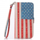 Cloth Grain USA Flag Flip PU Leather Wallet Case w/ Stand / Photo Frame for IPHONE 6 4.7""