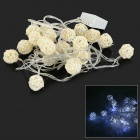 HH53 3W 180lm 6500K 20-LED White Balls Style Light String - White + Beige (4M / 220V)