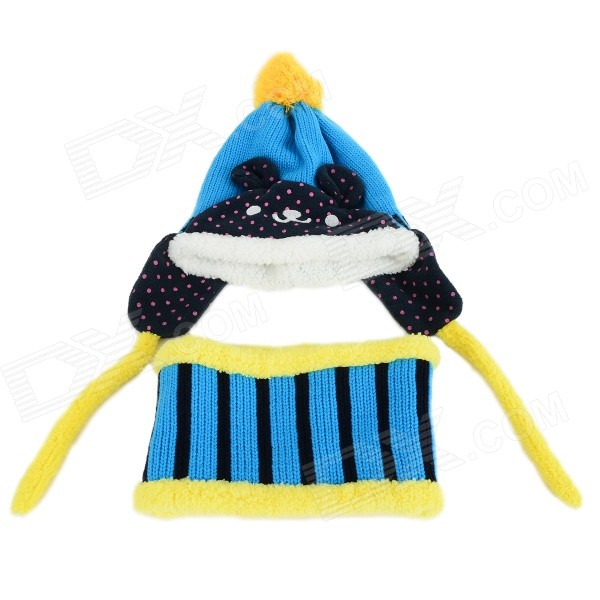 ZEA-RTM0911-1 Children's Panda Style Super Soft Autumn / Winter Wear Cap + Scarf Set - Blue rtm la 602g