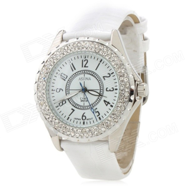 Y113 Women's Fashion Rhinestone Inlaid Zinc Alloy Band Analog Quartz Wrist Watch - White (1 x 377) fashion lady s zinc alloy band quartz analog rhinestone waterproof wrist watch silver 1 x 377