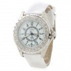 Y113 Women's Fashion Rhinestone Inlaid Zinc Alloy Band Analog Quartz Wrist Watch - White (1 x 377)