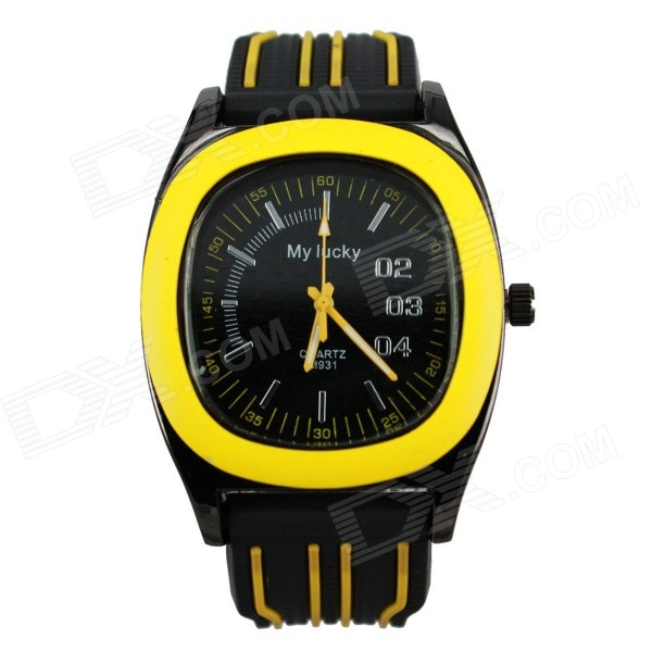 MY LUCKY Men's Stylish Silicone Band Analog Quartz Sport Wrist Watch - Yellow (1 x 377) stylish bracelet band quartz wrist watch golden silver 1 x 377