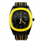 MY LUCKY Men's Stylish Silicone Band Analog Quartz Sport Wrist Watch - Yellow (1 x 377)