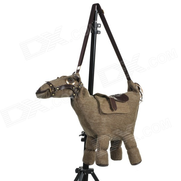 Creative Fashionable Cartoon Horse Shaped Canvas+ PC Bag - Brown +  Dark Brown