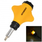 R'DEER RT-1617 Portable 14-in-1 Ratchet Screwdriver w/ LED + Bits Set - Yellow (3 x AG4)