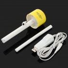 USB Powered Flat Head Water Bottle Mounted Air Humidifier - Yellow + White