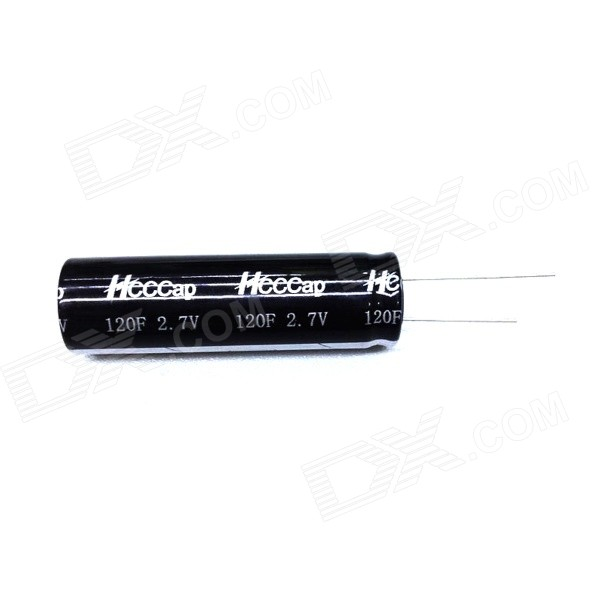 ZnDiy-BRY 2.7V 120F Super Electrolytic Capacitor - BlackDIY Parts &amp; Components<br>BrandZnDiy-BRYModelHCAPC-S 1206Quantity1 DX.PCM.Model.AttributeModel.UnitForm  ColorBlackMaterialAluminum + ElectrolyteEnglish Manual / SpecNoOther FeaturesDurability: 2000~20000 hours; <br>Application: Printer, tax printer, intelligent three-phase table, electric toys, Vehicle electronic (vehicle traveling data recorder, DVD, navigation, etc.), dynamic uninterruptible power system backup power supply, short-term energy compensation power, electric bicycle, instrument and meter, electronic door locks, LED display, car audio, UPS, solenoid valves, electric toothbrushes, portable PC, solar energy spike lamp, small equipment backup power supply, intelligent water meter, gas meter, cash registers, and so on.CertificationN/APacking List1 x Capacitor<br>