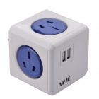 NEJE Square Shaped 6-Outlet Power Socket w/ Dual-USB - Blue + White (AU Plug)