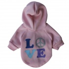 "LB-T0002 ""LOVE"" Patterned Fleece Hoodies T-Shirt for Pet Cat / Dog - Pink (Size S)"
