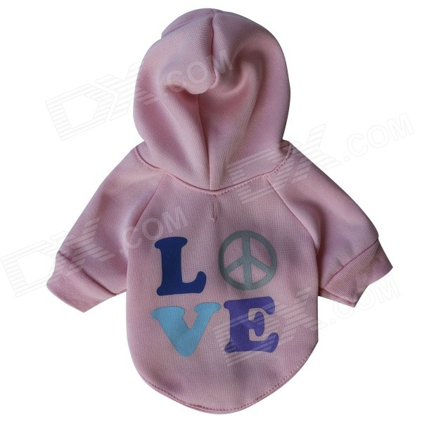 "LB - T0002 "" LOVE "" kuvioitua Fleece hupparit T - paita Pet Cat / Dog - Pink ( Size M )"