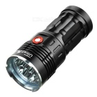 Sky Ray 7000lm 7-LED 3-Mode Super Bright White Flashlight Torch - Black (4 x 18650)