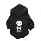 LB-T0005 Skeleton Patterned Fleece Hoodies T-Shirt for Pet Cat / Dog - Black (Size S)
