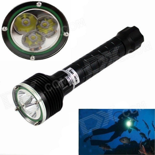 KINFIRE High Waterproof 3-LED 1200lm Dimming IP68 Diving Flashlight - Black (2 x 18650) high power led 6l2 professional diving flashlight magnetic control electrodeless dimming light waterproof flashlight