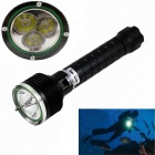 KINFIRE High Waterproof 3-LED 1200lm Dimming IP68 Diving Flashlight - Black (2 x 18650)