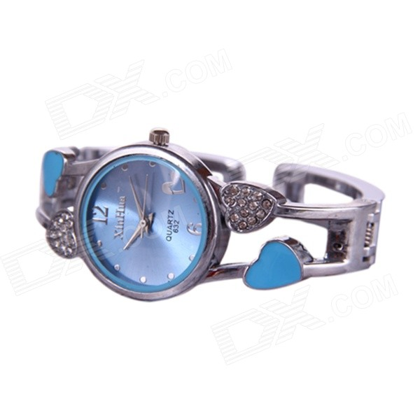 Women's Stylish Rhinestone Inlaid Analog Quartz Bracelet Watch - Silver + Blue (1 x 377) stylish bracelet band quartz wrist watch golden silver 1 x 377