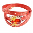 Women's Stylish Spider Pattern Rhinestone Inlaid PU Band Analog Quartz Bracelet Watch (1 x 377)