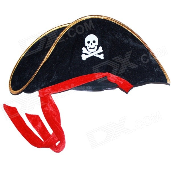 Y23987 Halloween Show Cosplay Red Ribbon Pirate Style Hat - Musta + Punainen
