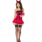 Sexy Role Playing Faerie Suit Outfit for Halloween / Party - Red + Black