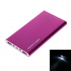 REDWAY PBS002-080 Ultra-thin 8000mAh Dual USB Li-polymer External Power Bank w/ LED Light - Pink